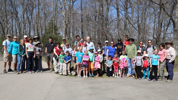 Hiking group from North Cincinnati Community Church at the Flat Fork Ridge Recreation Area, Caesar Creek State Park, Waynesville, Ohio.