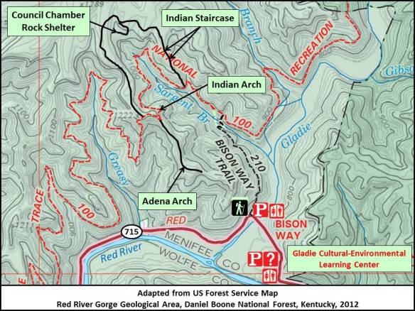 Red River Gorge - Indian Staircase (Trail Map)